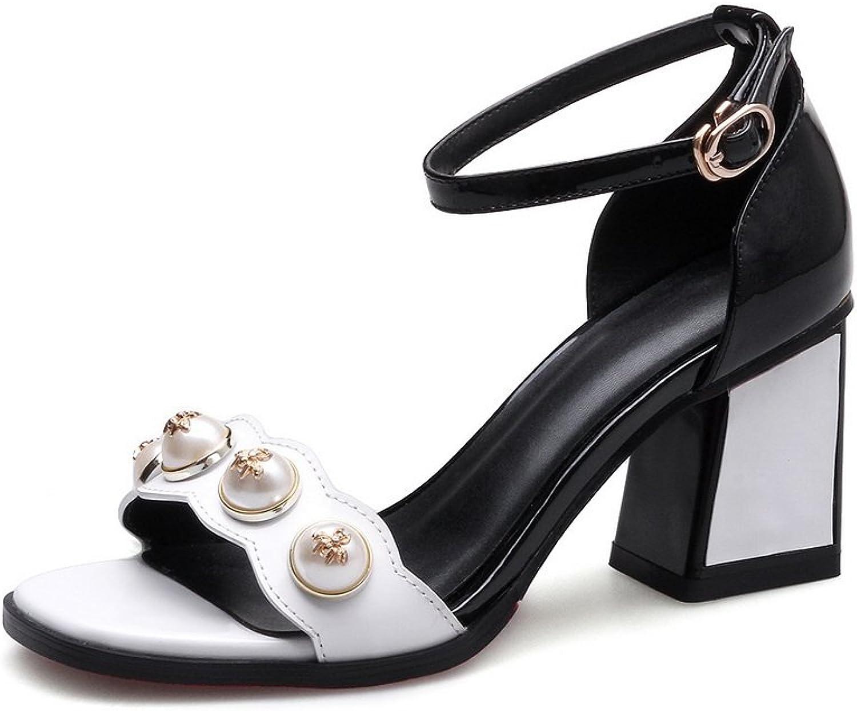 AdeeSu Womens Chunky Heels Square-Toe Jewels Leather Sandals