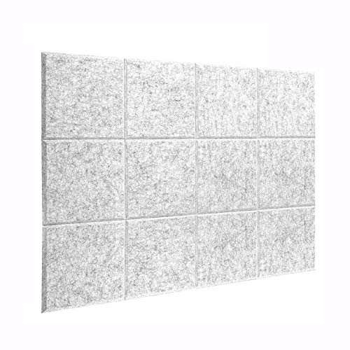 DEKIRU New 12 Pack Acoustic Foam Panels, 12 X 12 X 0.4 Inches Soundproofing Insulation Absorption Panel High Density Beveled Edge Sound Panels, Acoustic Treatment for Home&Offices (Grey)