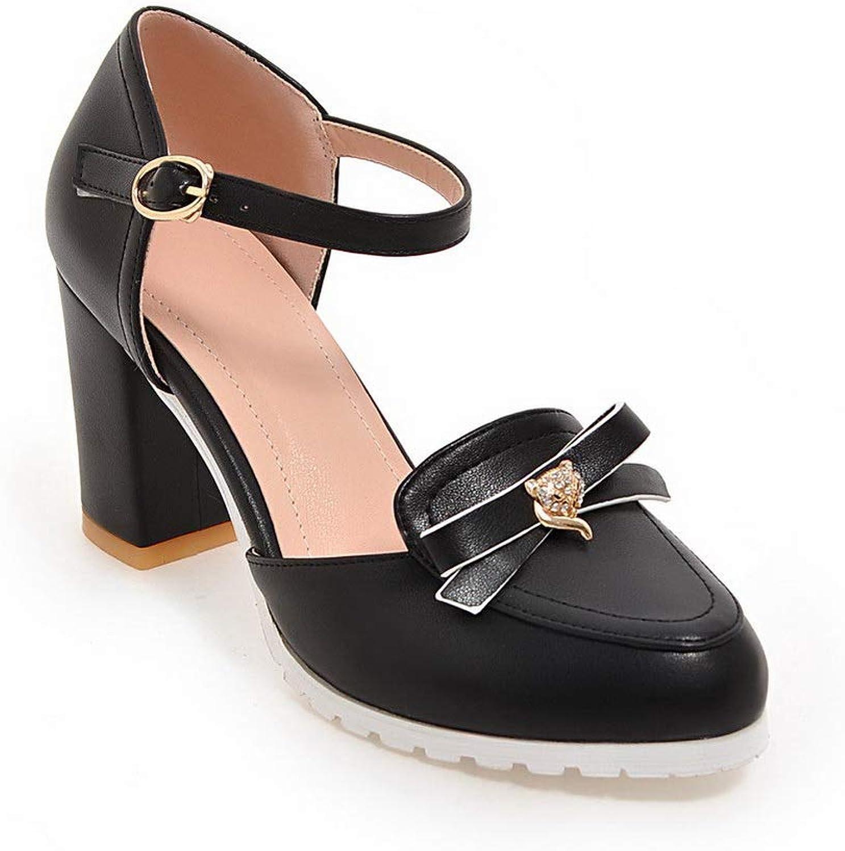 AN Womens Square Heels Buckle Chunky Heels Urethane Pumps shoes DGU00696