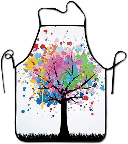 N\A Delantal Colorido de la Novedad de la Pintura del árbol para la Cocina Barbacoa Barbacoa Cocina Jardinería Durable y Gran Regalo Código Uniforme Traje para Hombres Mujeres Diseño Creativo Babero