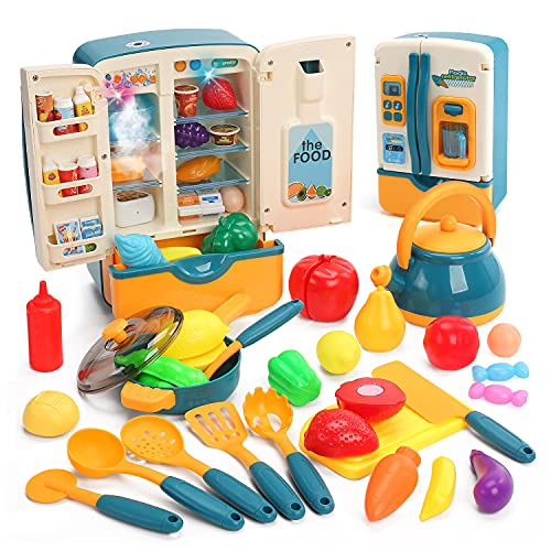 CUTE STONE Kitchen Toys Fridge Refrigerator with Ice Dispenser Pretend Play Appliance for Kids, Play Kitchen Set with Kitchen Playset Accessories for Boys & Girls