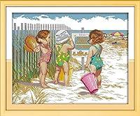 クロス ステッチ DIY 手作り刺繍キット 正確な図柄印刷クロスステッチ 家庭刺繍装飾品 ビーチで遊ぶ赤ちゃん 40x50cm