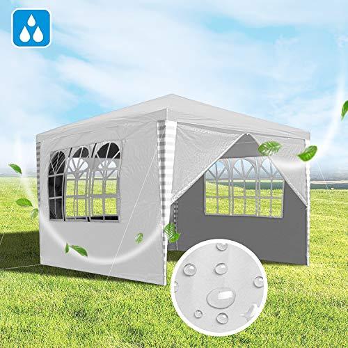 Hengda 3x3m Pavillon, Gartenpavillon mit 4 Seitenteile UV-Schutz inkl. Zubehör, Partyzelt weiß für Garten, Terrasse, Party, Markt