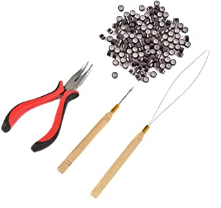 Hair Extension Tools Kit – Plier - Pulling Hook - Bead Device Tool Kits with 200 Pieces 5mm Silicone Lined Micro Rings (200Pcs, Dark Brown Beads)