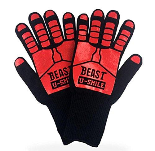 HaoYiShang Heat Proof Handschoenen Silicone Food Grade, BBQ Handschoenen, Maximale temperatuur warm oppervlak 662°F, Brandwerende Handschoenen voor Oven Bakken, Camping, Open haard, Barbecue (Zwart)
