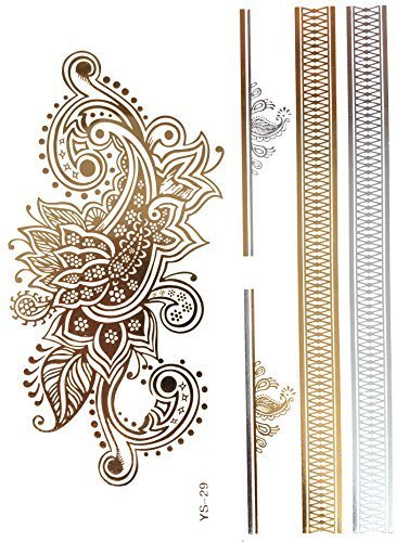 Gouden flash tattoo bling body tattoos zilver ornament armbanden rug YS-29