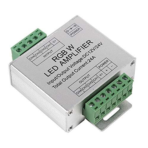 RGBW-versterker, DC12-24V 24A RGBW-signaalversterker 4-kanaals uitgangscircuit Aluminium omhulsel LED-stripcontroller voor RGBWW LED-lichtstrip