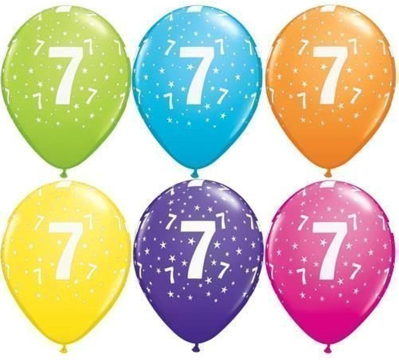 Age 7 7th Birthday Tropical Assorted Qualatex 11 Latex Balloons x 5 by Qualatex