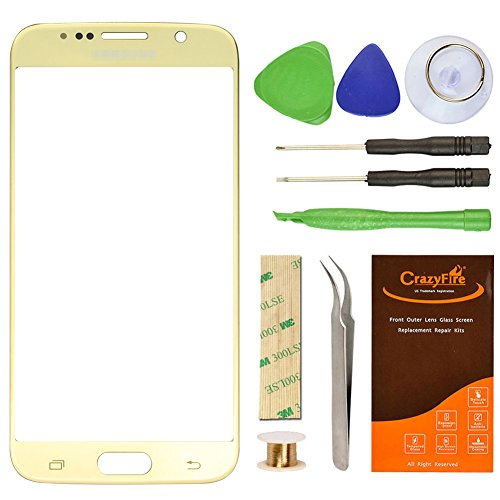 Samsung Galaxy S6 Gold Plating Replacement Front Outer Lens Glass Screen CrazyFire Repair Kit With 1MM Adhesive Tape+Tools Kit+1 Pair Tweezers+1 Roll Micro Wire For G920A G920P G920T G920V G920R4 G920F