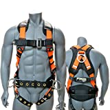 AFP Full Body Safety Harness 3D-Ring w/ Shoulder & Back Padding Support Belt, and Tongue Buckles | Fall Protection | Construction, Carpenter, Scaffolding, Roofing (OSHA/ANSI) (Large/XLarge, Hi-Viz Orange)