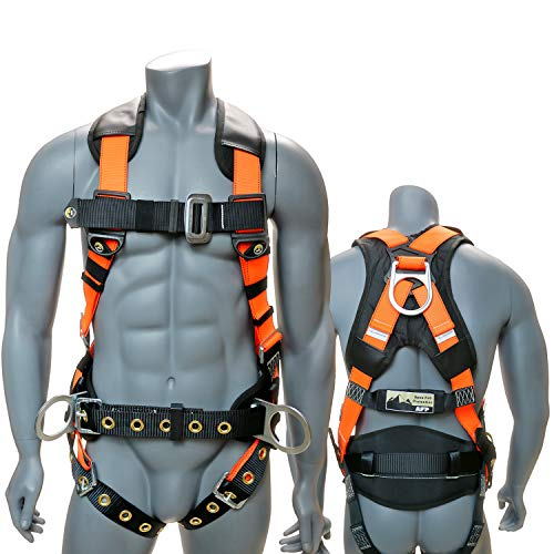 AFP Full-Body Safety Harness 3D-Ring with Shoulder Padding, Padded Back Support Belt, and Tongue Buckles (OSHA/ANSI Compliant) (Small-Medium)