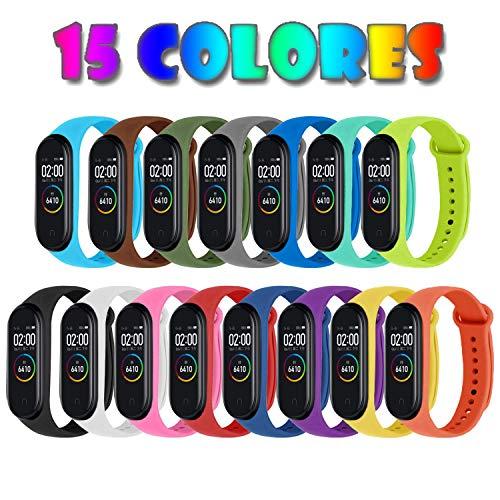 Monuary 15 Piezas Correas para Xiaomi Mi Band 4 / Mi Band 3 Pulsera Reloj Silicona Banda para Xiaomi Mi Band 4 Reemplazo - 15 Colores