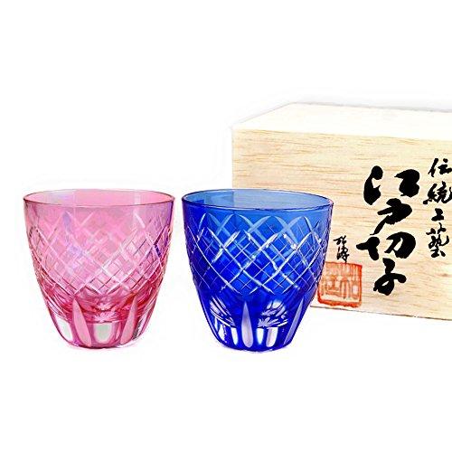 Pair of Pink & Blue Edo Kiriko Guinomi Sake Cups Design Cut Glass Shot Glass - Utsushimi Kasane Yarai [Japanese Crafts Sakura]