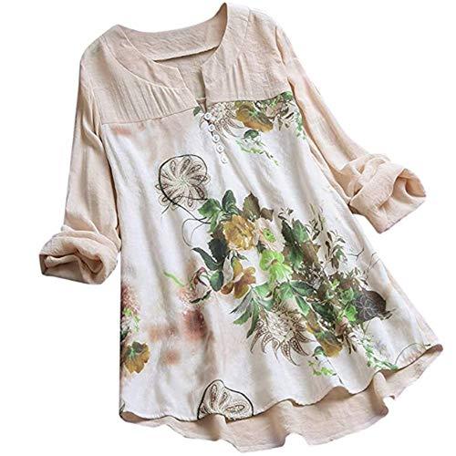 PRJN Damen Retro Stickerei Blumendruck Kariertes Kleid Baumwoll-Leinen-Kleid O-Ausschnitt Kurzarm-Freizeitkleid Loses Kleid Baumwoll-Leinen-Druck Mittellanges, großes Kleid Sommerkleid