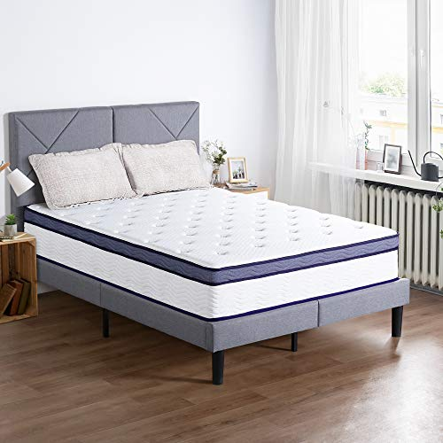PrimaSleep 12 inch Euro Top Spring Mattress,White and Navy, King
