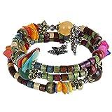 MJARTORIA Femme Bijoux Bracelet Tibétain Perles Bois Multi Rangs Multicolore