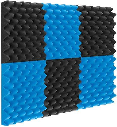 Paquete de 24 paneles acústicos de 30,4 x 30,5 x 2,5 cm para estudio acústico, azulejos de espuma de insonorización para estudio acústico (negro + azul)