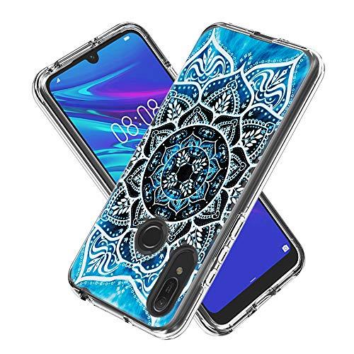 Miagon 2 in 1 Hart PC und Weich TPU Innere Durchsichtig Klar Hülle für Huawei Y6 2019,Bunt Muster Anti Gelb Stoßfest Handyhülle Schutzhülle Bumper Case,Mandala Blume