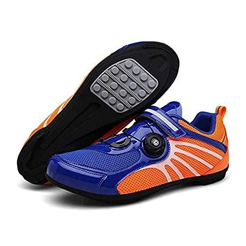 FACAI Fahrradschuhe Professionelle Leichte Rennradschuhe Mit Reflektierenden Streifen rutschfeste Atmungsaktive Mountainbike-Sportschuhe Für Erwachsene,Orange-41EU