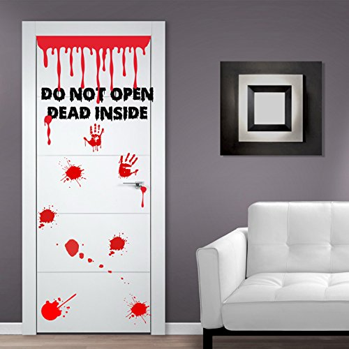 (Door width 55 cm) Vinyl Door Decal Don't Open Dead Inside Design / Blood Zoombie Hands Art Decor Sticker / Funny Walking Dead Decals + Free Random Decal Gift!