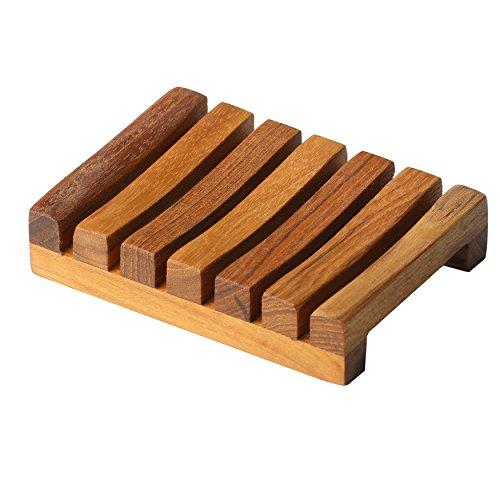 Bare Decor Soap Dish, Teak Wood, Brown