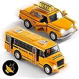 Top Race Métal Autobus Scolaire Diecast Metal et Taxi Pull Back Batterie Alimenté avec Lumières et Son Échelle 1:32 Ensemble de 2, TR-998