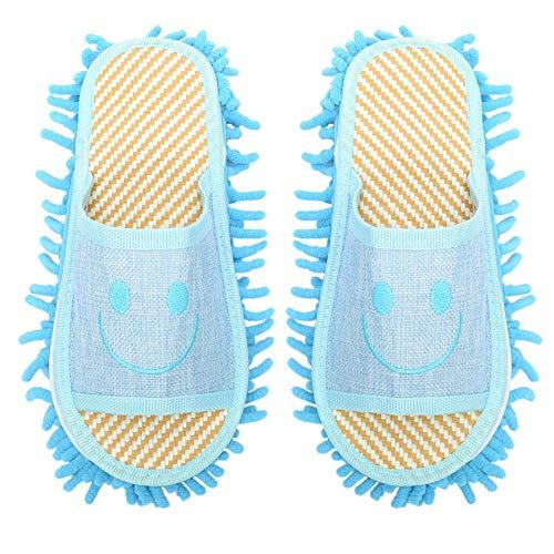THEE Putzpantoffel Hausschuhe mit mit reinigender Mikrofaser-Sohle für Erwaschene Damen Herren,Blau 1#