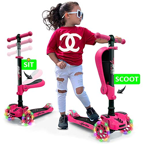 Hurtle 3Wheeled Scooter for Kids  Wheel LED Lights Adjustable LeantoSteer Handlebar and Foldable Seat  Sit or Stand Ride with Brake for Boys and Girls Ages 114 Years Old  Pink