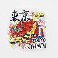 日本土産 桜柄 日の丸 国旗 漢字 マグネット ラメ入り 室内装飾 雑貨 Japan gift (東京)