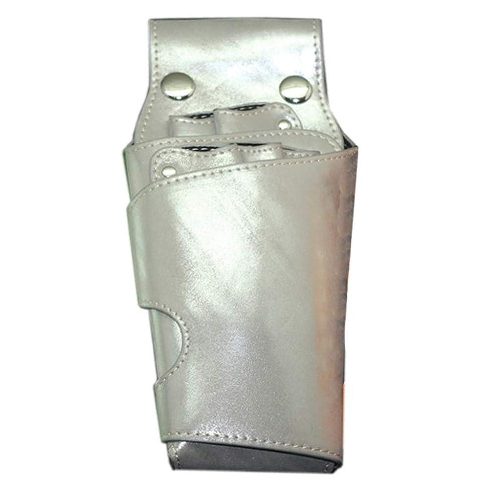 延ばす厄介なマウスCAMOAR シザーケース クシ 5丁 ハサミ収納 高品質 美容師 トリマー プロ仕様 レザー シルバー