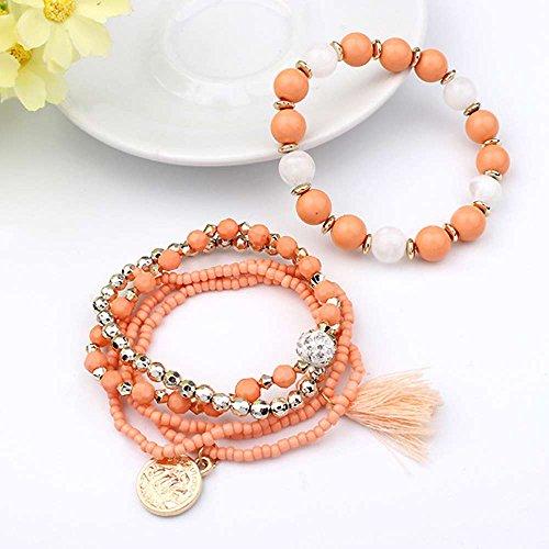 LUCOG Women's Multilayer Beads Bangle Tassels Bracelets Orange