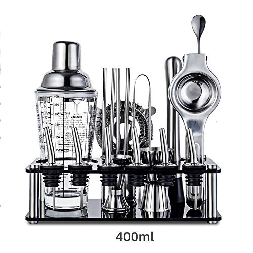 19 Piece Cocktail Shaker Set Stainless Steel Bartender Kit - 400ml Shakers Cocktail Strainer Set,Cocktail Muddler And Spoon for Home Bar Party