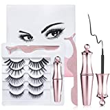 Trooer Magnetic Eyelashes Kit 3D Natural Looking Magnetic Eyelashes With Eyeliner Set Reusable Falsies Magnetic Lashes With Eyeliner for All Occasion No Glue needed (Pink)