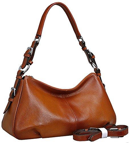 Heshe Women's Genuine Leather Shoulder Handbags Tote Bag Top Handle Bag Ladies Designer Purses Satchel Cross-body Handbag (Sorrel-NEW)