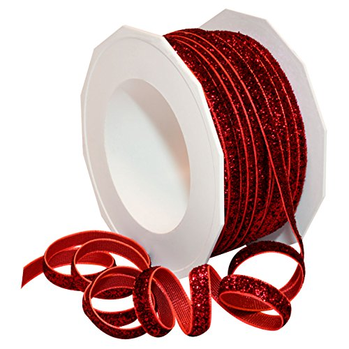 Morex Ribbon 98701/25-609 Metallic Velvet Glitter Ribbon, 1/4-Inch by 25-Yard, Ruby