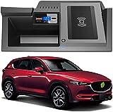 WY-CAR Cargador Inalámbrico Automóvil para Mazda CX5 2017-2020, Carga Rápida Accesorios Coche, Cojín Inteligente de Carga, 10W Cargador Inalámbrico Rápido para iPhone Samsung
