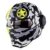 SJAPEX Casco Apribili e Modulari per Adulti, Personalizzato Integrali Caschi Full-Face Robot Motocycle Helmet con Anti Nebbia Visiera, per Motocross Motard Cruiser Urbano, DOT Certificato