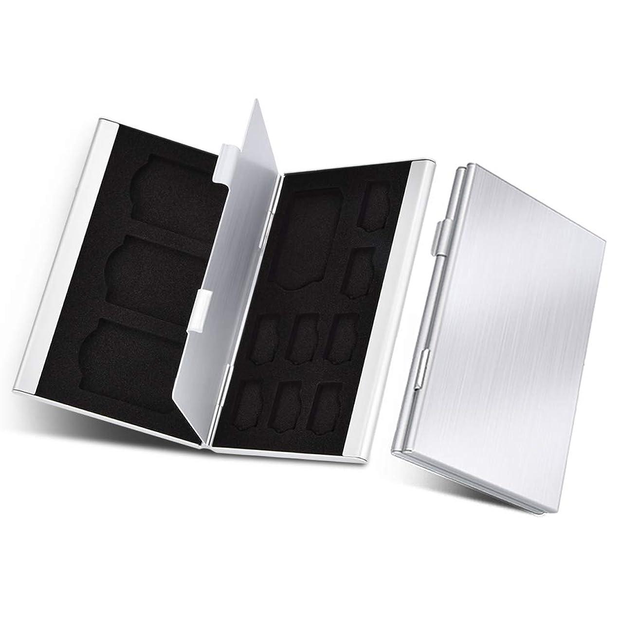 親指まともな退化するUTEBIT SDカードケース アルミ製 銀色「2点セット」薄型 大容量 microSDカード TFカード 両面収納 12 スロット メモリーカードCase 小型 マイクロカード 保護 専用 コンパクト メディアケース 軽量 持ち運びやすい シルバー
