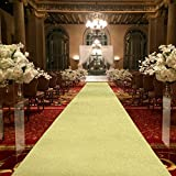 Efavormart 3FT x 50FT Champagne Glitter Wedding Aisle Runner, Non-Woven Carpet Runners for Party, Birthday, Banquet, Home, Restaurant, Outdoor Decor