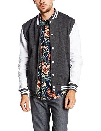Preisvergleich Produktbild Urban Classics Herren Collegejacke Jacke 2 - tone College Sweatjacket,  Charcoal / White,  L