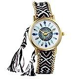 JewelryWe Boho Reloj De Pulsera Étnica De Mujeres, Negro Blanco Cuerda De Tela Tejida, Reloj Trenzado De Hilos Ajustable, Plumas Indigenas, Regalo para el Dia de la Madre, Regalo para Chica