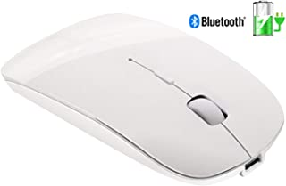 Tsmine Slim Rechargeable Bluetooth Mouse, Ultra-Slim Mice Silent Wireless Mouse for Laptop, Notebook, PC, Computer,Windows/Android Tablet, iMac MacBook Air - White