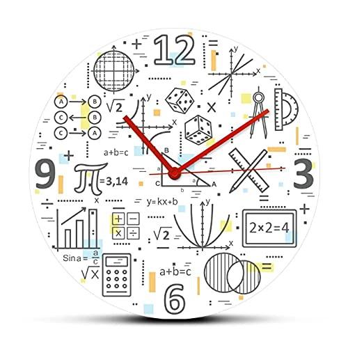 LTMJWTX Concepto Moderno de línea Delgada de matemáticas Reloj de Pared acrílico Impreso Fórmula matemática Estudio de educación Reloj de Pared colorido-30X30cm