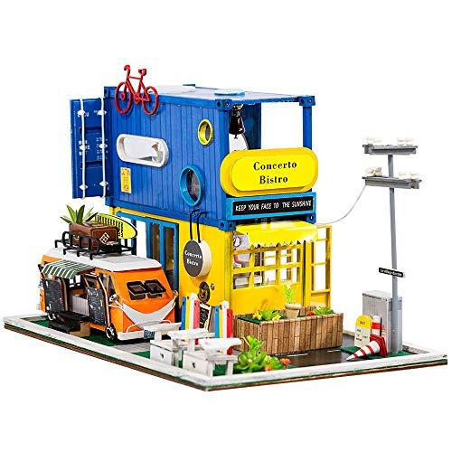Festnight DIY Miniatur Puppenhaus mit Möbeln und LED-Lichtern Container Design mit Catering Truck 3D Holzhaus Kreative Geburtstage Festivals Kinder Familie Freunde