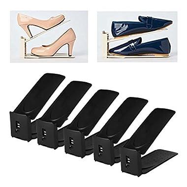 HARRA HOME Premium 3step Adjustable Shoe Slots Space Saver, Easy Shoe Slotz Organizer Double Shoe Rack Storage For Closet, Shoes Holder For Sneaker booties High heels Flats Sandals, Set of 5