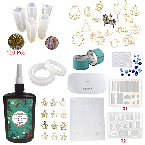 250ml resina epoxi UV transparente kit con moldes biseles lámpara, 11 moldes silicona para hacer colgantes pendientes llaveros pulseras brazaletes, 17 biseles calados + 2 cintas + lámpara compacta