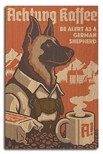 Lantern Press German Shepherd - Retro Coffee Ad (10x15 Wood Wall Sign, Wall Decor Ready to Hang)