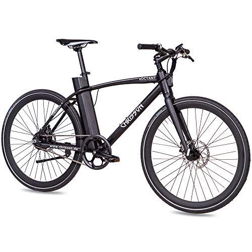 CHRISSON 28 Zoll E-Bike City Bike eOCTANT schwarz matt - Elektrofahrrad Urban Bike mit Aikema Hinterrad -Nabenmotor 250W, 36V, 40 Nm, Pedelec für Damen und Herren, praktisches E-City Bike