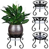 3 Pack Metal Plant Stand for Multiple Plants with Plant Saucer-Outdoor Wrought...