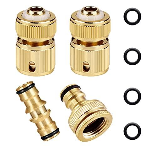 Paquete de 4 conectores de latón para manguera de jardín, 2 mangueras de 1/2 pulgadas, 1conector de macho doble y 1 de 1/2 pulgadas y 3/4 pulgadas 2 en 1 hembra roscado adaptador de grifo